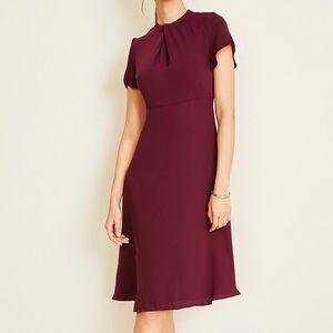Ann Taylor Twist Neck Flutter Sleeve Midi Dress